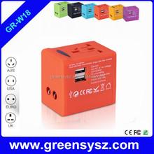 GE-W18 1 year warranty promotional gift travel power bank multi plug with uk us au eu