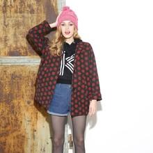 Newest fashion boutique covered button retro wool polka dot ladies winter blazer