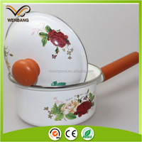 elegant appearance metal enamel coating restaurant single handle cooking pot