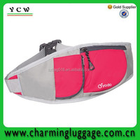 2015 stylish pink eco fitness sport waist pack pattern sports bag with splice design