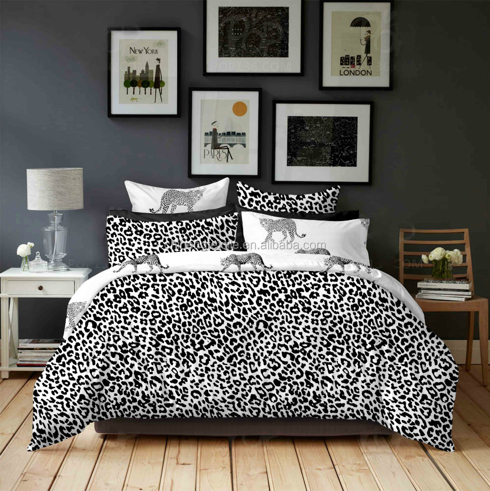 broderie conception imprim l opard couettes ensembles de. Black Bedroom Furniture Sets. Home Design Ideas
