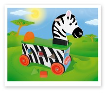 kids wooden zebra ride on cars toy