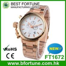 FT1672 Fashion rose gold vogue quartz movement 6 hands chronograph watch