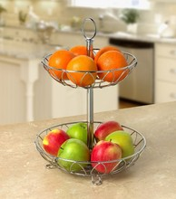 Beautiful 2 Tier Metal Wedding Gift Fruit Basket Decoration
