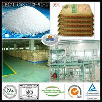 food additives in milk Emulsifier E471 China Large Manufacturer CAS:123-94-4,C21H42O4,HLB:3.6-4.0, 99%GMS