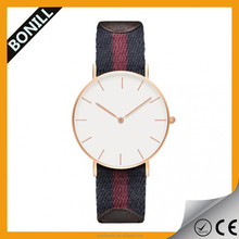 fabric simple design big face super slim fashion vogue man wrist watch with stainless steel back and japan miyota quartz movt