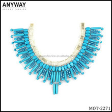 Shining blue color fringe beaded ladies design of neck collar of suit