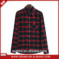 Atacado 100% algodão preto e vermelho xadrez camisa do smoking para o homem