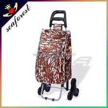 canvas vegetable shopping trolley bag with 6 wheels