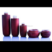 luxury beautiful unique fancy new design crack red coated glass cream jars and lotion bottles face cream jars