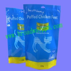 low cost customized printed stand up zipper plastic dog food bag for pet