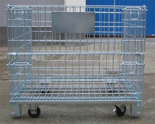 Steel Wire Mesh Pallet Cage for Warehouse Storage with Wheels