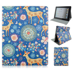 Cute Fawn Deer Flip Folio Stand PU Leather Tablet Cover Case For iPad 2/3/4