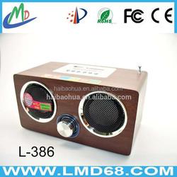 fm radio speaker outdoor stereo wooden speaker USB/SD LMD-L386