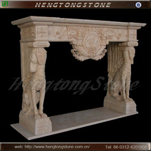 Decorative Fireplace Mantel with Animal Statue