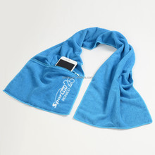china supplier of microfiber gym towel with zip pocket