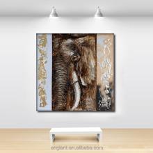 Handmade wild animal oil painting of elephant