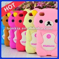 Silicon Case Rilakkuma Bear Phone Case,3d Silicon Animal Case for IPhone4