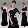 dorisqueen transporte da gota de pronto a vestir nova chegada 2014 um ombro preto elegante manga longa vestidos de noite