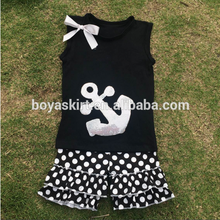 Children wholesale summer clothing ruffle outfit anchot design top and polka dots short summer tshirt and short clothing set