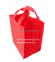 durable red color non-woven 6 bottle wine/beer bag, non woven fabric tote bag, wholesale reusable bag with long handle