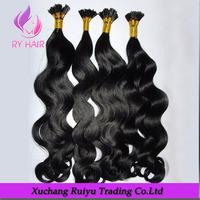Wholesale deep curly virgin pre bonded eurasian hair extension