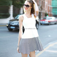 HJL-C1010 Veri Gude Wholesale New summer striped splicing sleeveless women's fancy vest dress