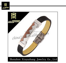 bulk buy fashion modern leather bangles bracelets with stainless steel from china