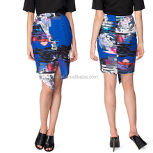 Oem service hot sale full printed asymmetric wrap around skirts for women