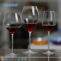 SANZO Rolling Bottom Glass Wine Cup & Blown Glass Water Cup & Glass Tumbler with Round Bottom & Glassware