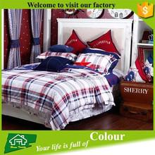 European style grid bed sheet set