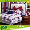 cotton european style grid bed sheet set