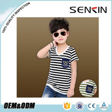 New design V-neck children t-shirt 100% cotton stripe t-shirt with pocket for boys