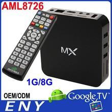 AML8726-MX TV Box Mali-400 1G DDR3 8G Flash 1920x1080 pixel Built in WiFi Ethernet:10/100M standard RJ-45 up to 1080p