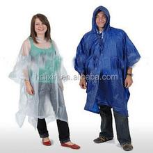 Low price one time PE poncho raincoat