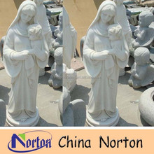 white marble virgin mary and baby jesus statue NTMS-R148S