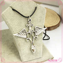 2015 Hot Sale Cross with wing Necklace Pendant Alloy Necklace