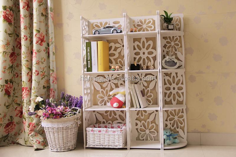 Gj yh12040 hout kunststof hoek boekenkast witte woonkamer kubus ...