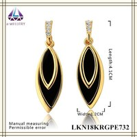 Yellow Gold Plated Jewelry Black Leaf Shape Dangle Earring Charm For Lady