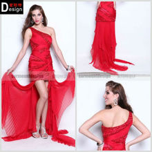 Beautiful One Shoulder beaded Chiffon Short Front Long Back Party Cocktail Dresses (CD-235)