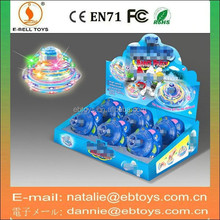11cm kids flashing light spin top toy with music