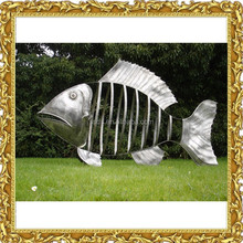 large garden outdoor stainless steel metal fish sculpture for sale