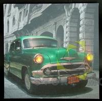 Lighted Green Car Canvas Modern Wall Art Print Kid's Room Decor