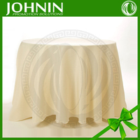 "Wholesale plain white polyester wedding 120"" round tablecloth"