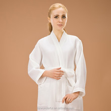 white waffle kimono long elegant robes for ladies night dress with soft and comfortable 65% cotton chenille bathrobes