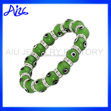 Turkish Evil Eye Murano Lampwork Glass Bead Stretch Bracelet