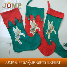 Top quality Christmas stocking,hot selling green popular Elves christmas stocking