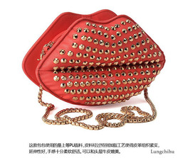 Hot Punk Rock You Spike Multicolored lips Mouth Clutch hand bags (LCHRB1)