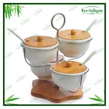 Modern Kitchenware White Ceramic Bamboo Spice Jars