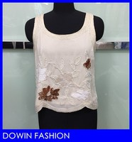 2015 wholesale new kurta design fancy wide shoulder straps condole belt glass beads sequins formal chiffon flower tank top